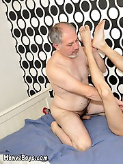 Old man swallows twink shaft and lubes up fuckhole